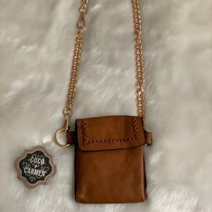 Coco + Carmen Small Leather Brown Crossbody NWT